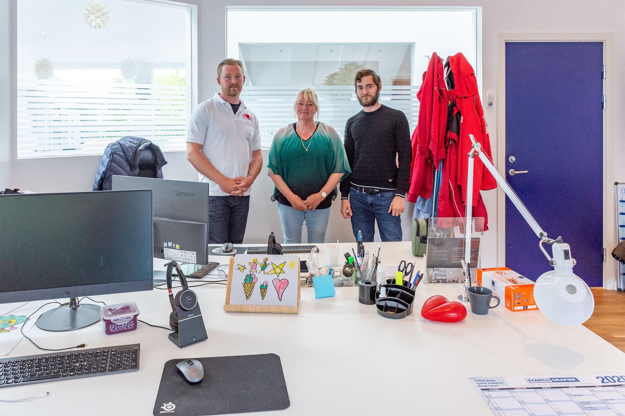 Grundstammen i Dragør Pleje Omsorg (fra venstre) Martin, Jeanet og Jimmy Mouritzen. Foto: Hans Jacob Sørensen.