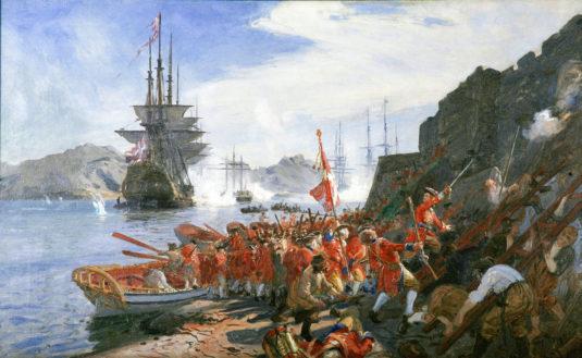Forstudie til Tordenskjolds Landgang i Marstrand 1719. Olie på lærred. Tilhører Museum Amager. Foto: Dirch Jansen.