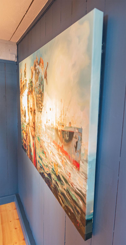Der er ingen ramme om portrættet. Niels Corfitzen har malet helt rundt om kanten. Foto: Thomas Mose.