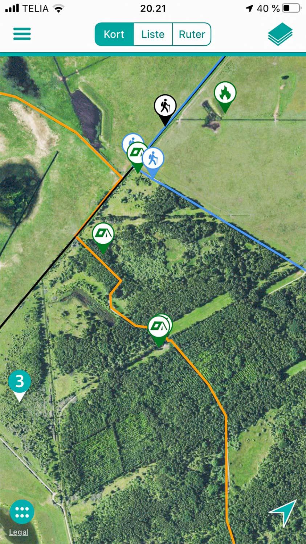 I appen Naturpark Amager er ruten, man skal følge, hvis man vil gå Amarminoen, markeret med en orange streg.