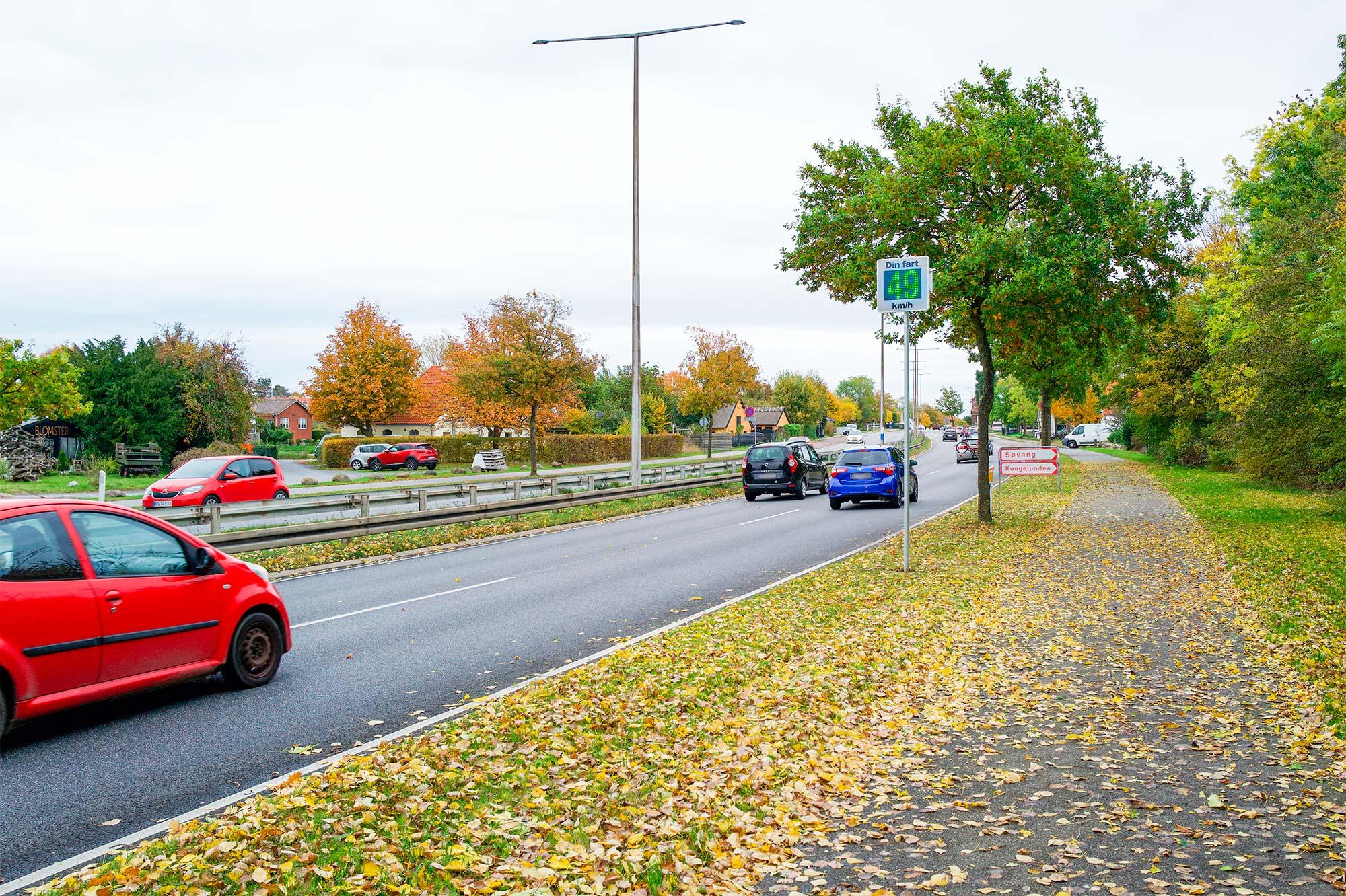 Den nye tavle på Englandsvej giver oplysning om den kørte hastighed. Foto: TorbenStender.